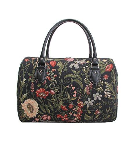Borsa donna Signare alla moda in tessuto stile arazzo per viaggi di un fine settimana o di una notte sola Mattina Giardino Nero