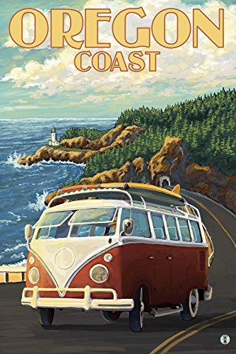 Camper Van Cruising the Oregon Coast (9x12 Art Print, Wall Decor Travel Poster) - Oregon Vintage Travel Poster