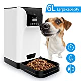 Tespo Automatic Pet Feeder Food Dispenser for Cats&Dogs 6L Large Capacity with Distribution Alarms and Voice Recording Timer Programmable Up to 4 Meals a Day