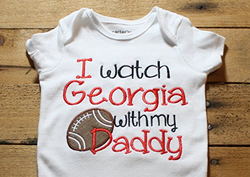 Georgia Baby Bodysuit I Watch Georgia With my Daddy Football by Seaux Sweet Embroidery