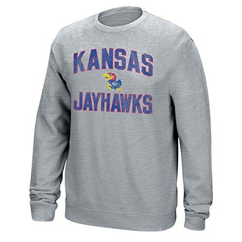 J America NCAA Men's Classic Arch Team Sweatshirt, Light Heather, Large, Kansas Jayhawks (Kansas Jayhawks Apparel)