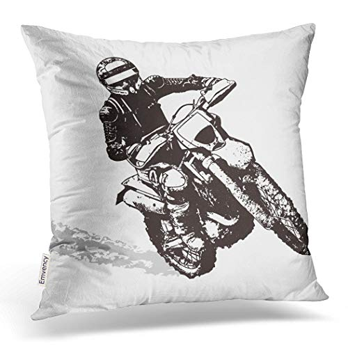 Price comparison product image Emvency Throw Pillow Cover 18X18 Inch Polyester Bike Black Motorbike Dirt Motocross Motor Silhouette Action Dirt Bike Decorative Pillowcase Two Sides Square Print for Home