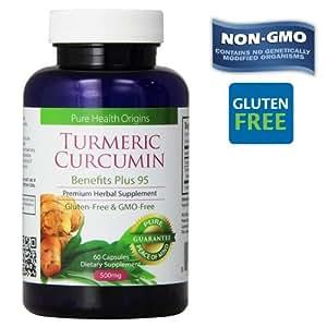 Turmeric Curcumin Capsules | 100% NON-GMO Gluten-FREE | Made in USA |