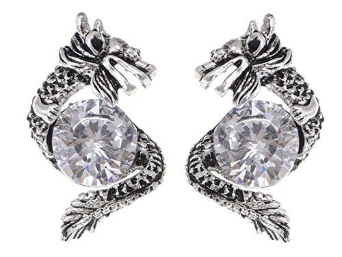 - Alilang Silvery Tone Protective Dragon Crystal Rhinestone Stud Earrings