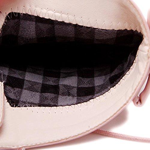 Aiyoumei Vrouwen Lace-up Dikke Hak Herfst Winter Enkellaarsjes Met Strik Zoete Schoenen Roze