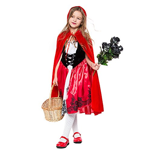Deluxe Little Red Riding Hood Halloween Costume for Girls Cosplay Dress Medium -