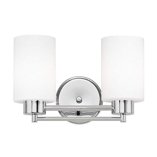 Amazon.com: Moderno cuarto de baño Luz con vidrio blanco en ...