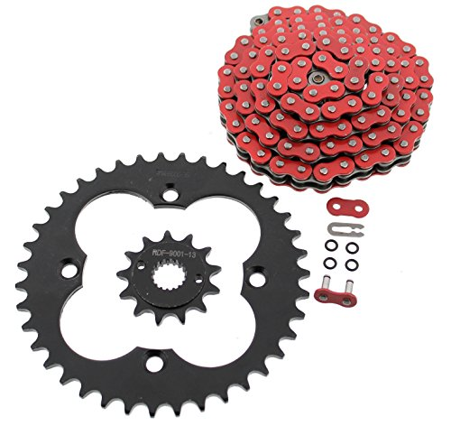 Red O-Ring Chain and Black Sprocket for 1999-2004 Fits Honda 400EX TRX400EX 13/39 94L