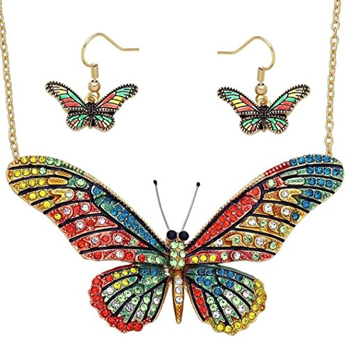DianaL Boutique Large Butterfly Necklace and Earrings Set Enameled Gold Plated Green Hot Pink Fashion Jewelry