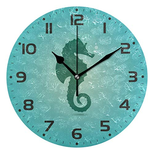 (Naanle Seahorse with Bubble Underwater Marine Sea Life On Blue Round/Square/Diamond Acrylic Wall Clock Oil Painting Home Office School Decorative Creative Dual Use Clock Art)