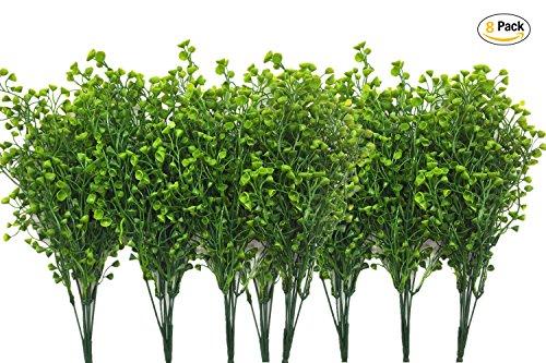 CATTREE Artificial Shrubs Bushes, Plastic Fake Green Plants Wedding Indoor Outdoor Home Garden Verandah Kitchen Office Table Centerpieces Arrangements Christmas Decoration - Green 8 (Fall Bush)