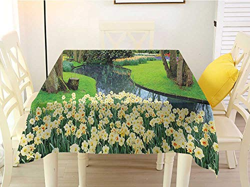 L'sWOW Washable Square Tablecloth Spring Flower Garden in