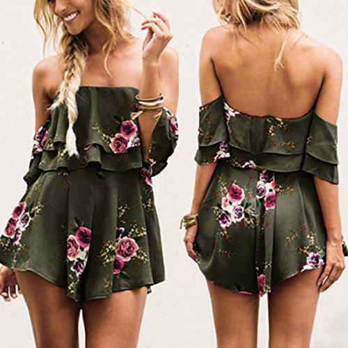 Fheaven Women Off Shoulder Ruffed Floral Print Short Sleeves Jumpsuit Summer Loose Playsuit Rompers (XL, Green)