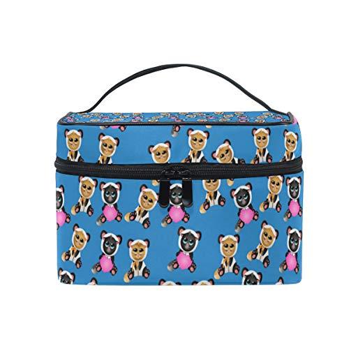 Cosmetic Bag Cat In Pandas Costume BlueTravel Makeup Brush Organizer Bag Multifunctional Cosmetic Case for Women Girl ()