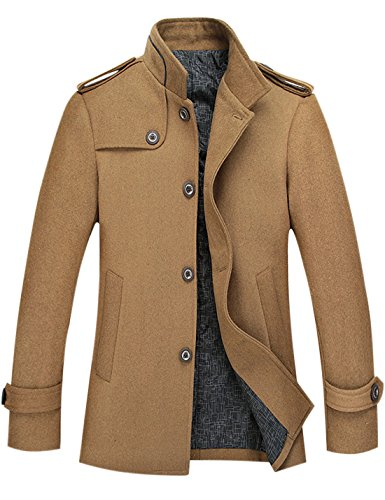 Tanming Men's Stylish Single Breasted Wool Blend Pea Coat Mutiple Colors (Medium, Khaki) -