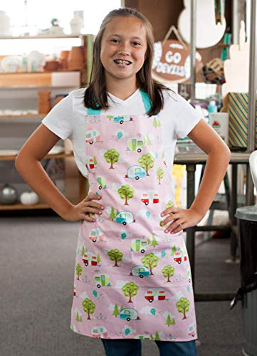 Aqua Pink Happy Camper Art Kitchen Apron Gift for Girl from Sara Sews