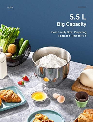 Keukenmachine Kealive kneedmachine met 8 snelheden, geactualiseerde spatbescherming, 1400 W met 5,5 l mengsleutel, garde, kneedhaak, klopbezem