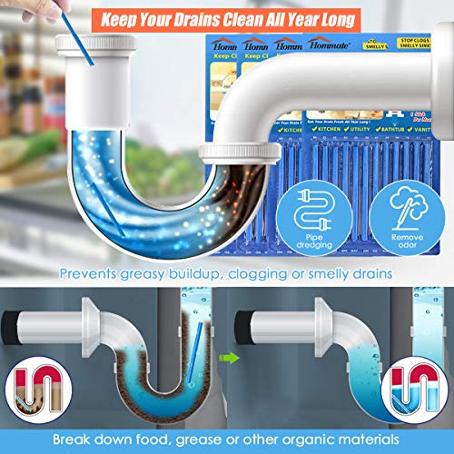 Drain Sticks Drain Stix Drain Cleaner and Deodorizer Sticks Drain Deodorizer Sticks for Clog Odor Unscented Non-Toxic for Kitchen Bathroom Sinks Pipes Septic Tank Safe As Seen On TV