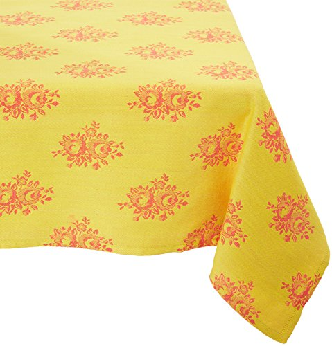 Mahogany T422T6 Square Country Rose Jacquard Tablecloth, 60
