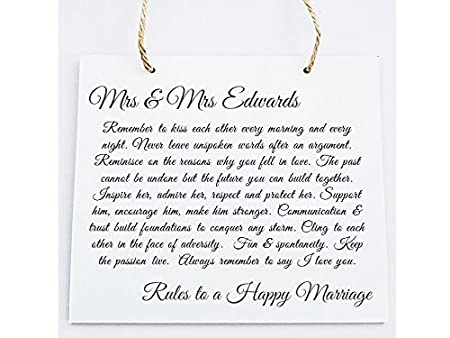 Personalised Marriage Wooden Plaque Newlyweds Anniversaries