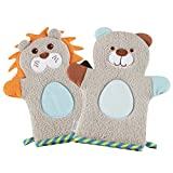 KAKIBLIN Cute Plush Animal Baby Bath Gloves Toddler Soft Baby Wash Mitt Baby Bath Towel Lion & Bear