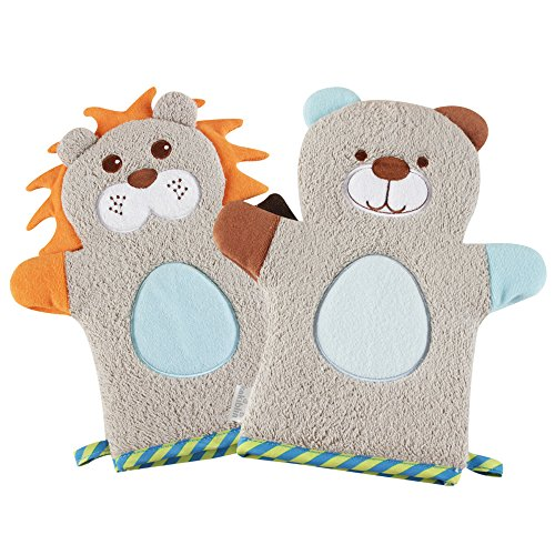 KAKIBLIN Cute Plush Animal Baby Bath Gloves Toddler Soft Baby Wash Mitt Baby Bath Towel Lion & Bear