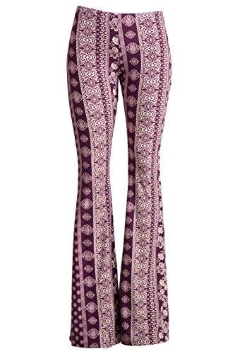 Velvet Bell Bottom Pants (Fashionomics Womens Boho Printed Bell Bottom Stretchy Long Pants (S, Plum Multi))