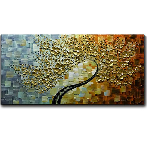 V-inspire Golden Flower Paintings, 24x48 Inch 3D Abstract Paintings Oil Hand Painting On Canvas Wood Inside Framed Ready to Hang Wall Decoration For Living Room Bed - 3d Printed Frames