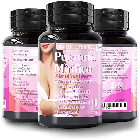 Natural Pueraria Mirifica Daily 2000 mg Capsules - Breast Enhancement Pills for Women - Breast Enlarger, Vaginal Health, Menopause Relief, Skin and Hair Health 90 Veggie Capsules