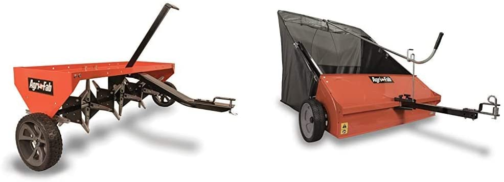 Agri-Fab 45-0299 48-Inch Tow Plug Aerator,Orange & Black,Large & 45-0492 Lawn Sweeper, 44-Inch