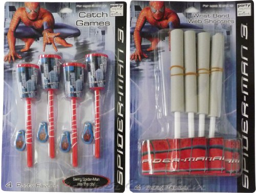 Hallmark Party Spiderman 3 Cup Catch Game And Wristband Web Shooter Variety Pack (Pack of 6)