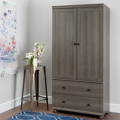 (South Shore Hopedale Tall 2-Door Storage Cabinet with Drawers and Adjustable Shelves, Gray)