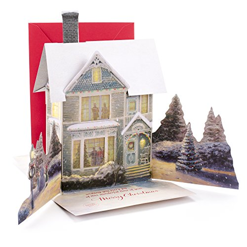 Hallmark Christmas Greeting Card with Light and Song Card (Displayable Dimensional Thomas Kinkade House)