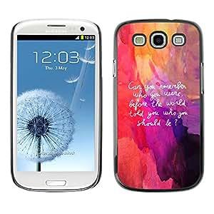 QCASE / Samsung Galaxy S3 I9300 / cotización del arte sea a recordar yo interior vida / Delgado Negro Plástico caso cubierta Shell Armor Funda Case Cover