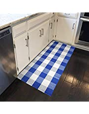 Xuanmuque Buffalo Plaid Rug Cotton Black Red Checkered Doormat Plaid Area Rug Entry Way Porch Mat Washable for Kitchen Bathroom Bedroom