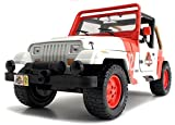 New Jada Jurassic World JP Staff Jeep Wrangler 1/24 Scale Diecast Model Car White Orange (Display Version, No Retail Box)