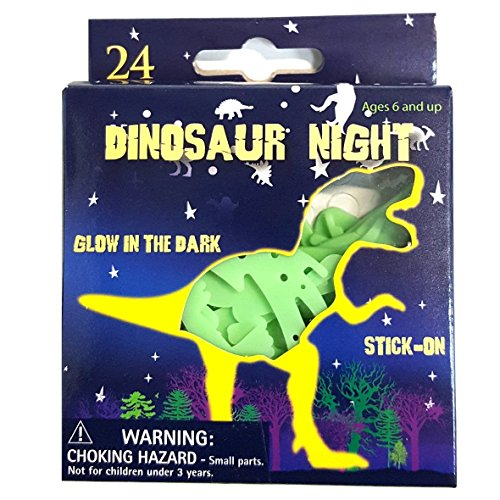 Pack of 24 Glow in the Dark Dinosaurs Stick on Dinosaurs