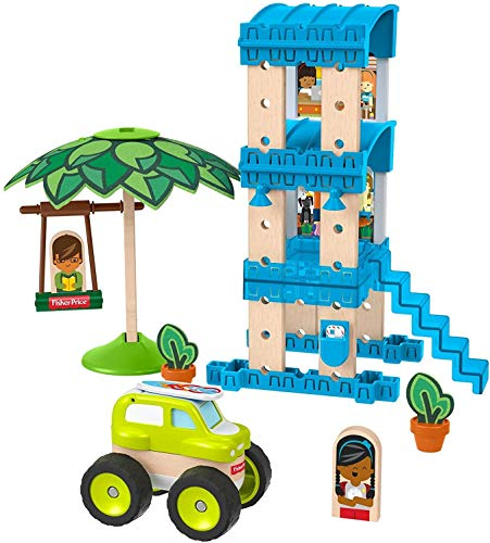 🥇 Fisher-Price Wonder Makers Design System Beach Bungalow – 35+ Piece Building and Wooden Track Play Set for Ages 3 Years & Up