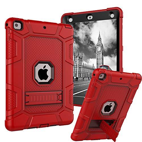 iPad 9.7 2017 Case, CASY MALL Three Layer Heavy Duty Full Body Protective Case Kickstand Apple iPad 9.7 Inch 2017 Model (Red)