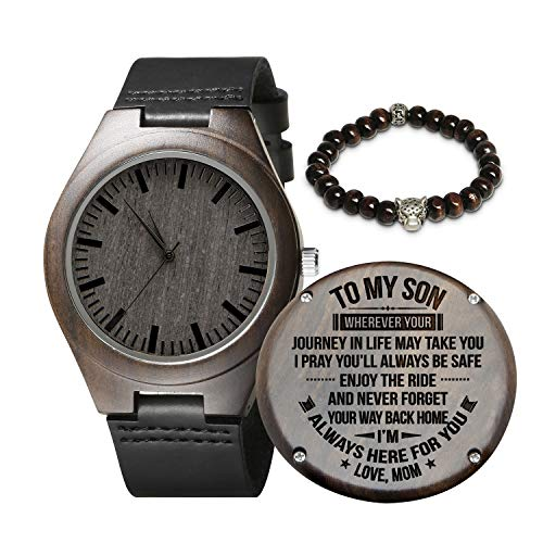 (Engraved Wooden Watch for Men,Natural Wooden Groomsmen Watch for Husband Son Natural Ebony Customized Wood Watch Birthday Anniversary Gift (for Son))