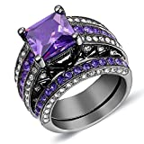 Purple Cubic Diamond Engagement Ring Set Princess Cut Gold Black Plated Created Wedding Band Us Size 5-11