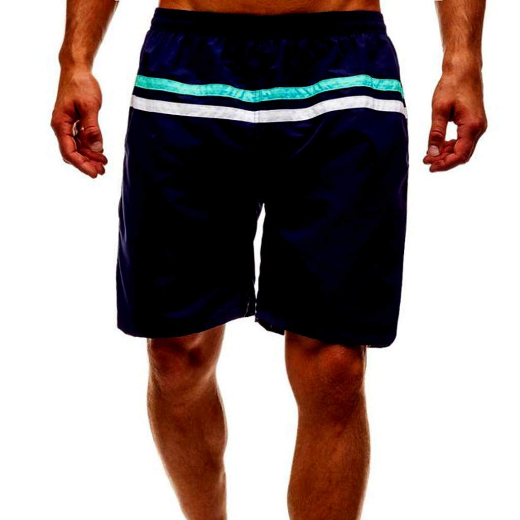 NUWFOR Men Casual Splice Stripe Beach Work Casual Men Short Trouser Shorts Pants(Navy,US:XXL Waist35.4-43.3'')
