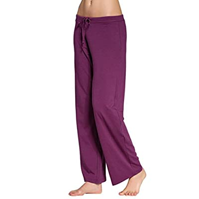 Hechun Womens Yoga Daily Pajama Pants Trousers Stretch Elastic Soft Fit Casual Sleep