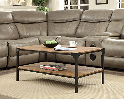 Vintage Brown Industrial Look Black Metal Cocktail Coffee Table with Lower Shelf