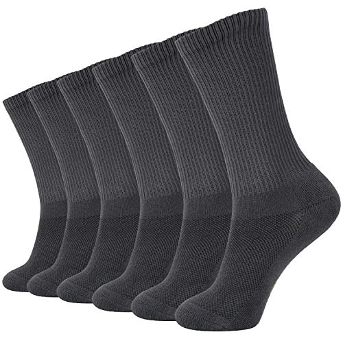 +MD 6 Pack Soft Men and Women Odor Resistant Bamboo Fiber Crew Casual Socks 6Grey9-11