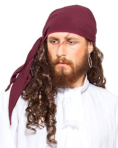 ThePirateDressing Pirate Medieval Renaissance Linen Triangle Bandana C1418 [Aubergine]]()