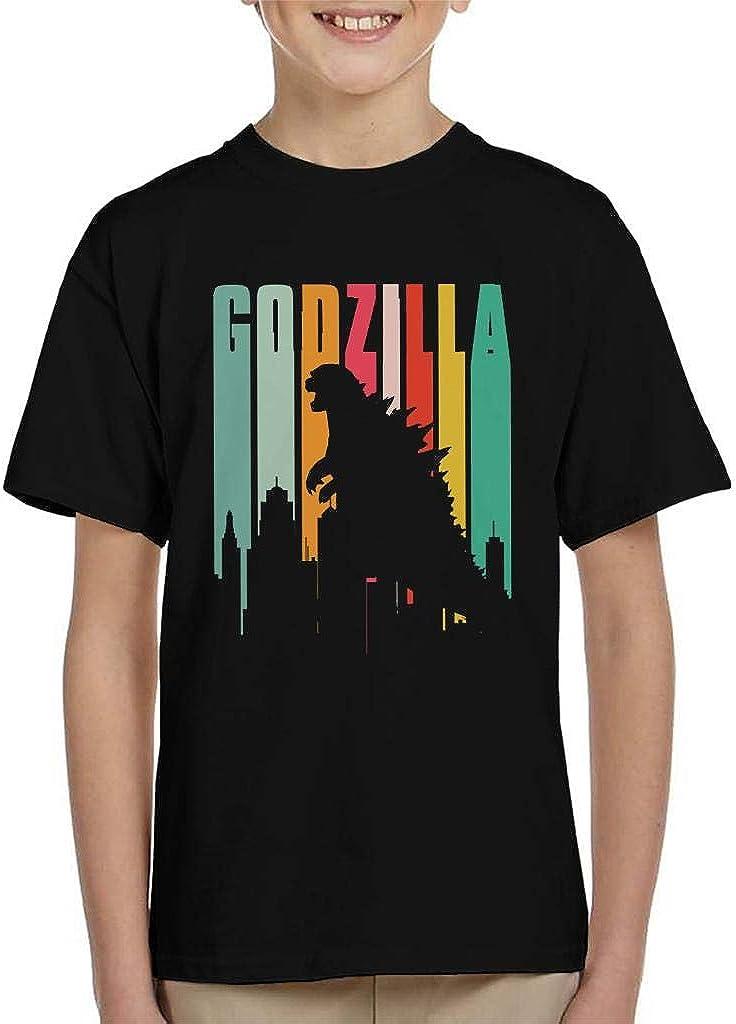 Cloud City 7 Godzilla Rainbow Stripes Kids T-Shirt