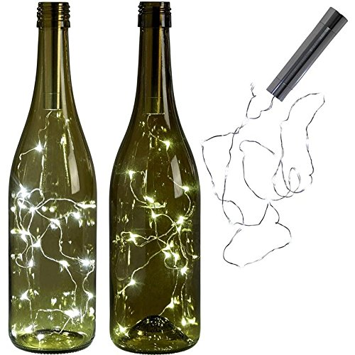 Gold Happy battery power Warm white Bottle Lights LED Cork Shape String Lights Bistro Wine Bottle Starry Bar Party Valentines ()