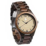 Treehut Men's Walnut and Ebony Wooden Watch with All Wood Strap Quartz Analog...