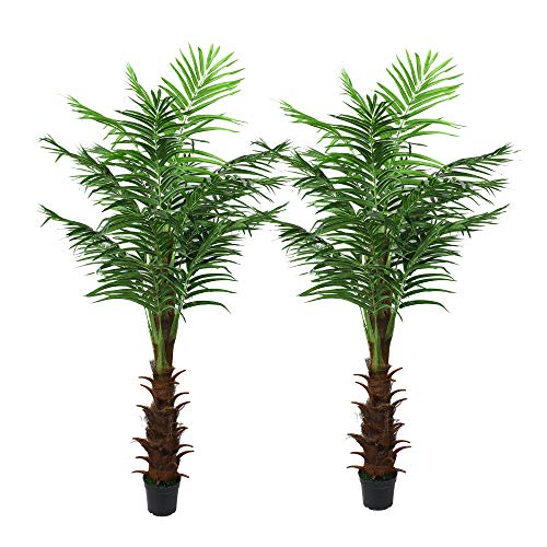 (LEISURE 5.9-ft Artificial Silk Palm Tree Set Of Two Pre-Potted with Bendable Branches for Home, Restaurant, Cafe or Office Indoor and Outdoor Decorating (Type 2))